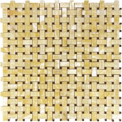 Honey Onyx Basketweave w/ Black Dots Polished Mosaic Tile