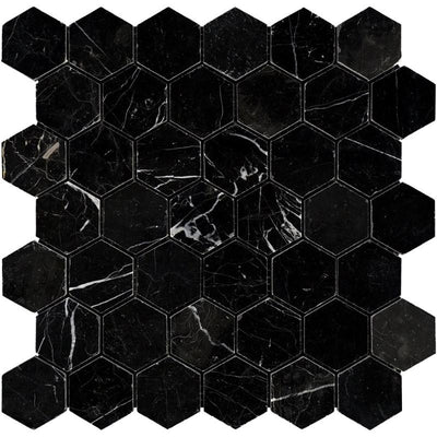 Nero Marquina Marble 2x2 Hexagon Polished Mosaic Tile