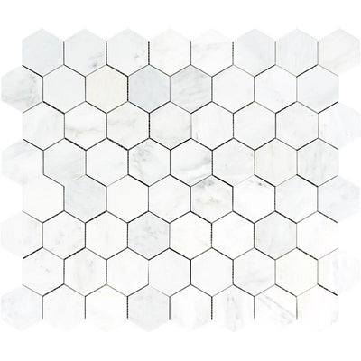 Oriental White Marble 3x3 Hexagon Honed Mosaic Tile