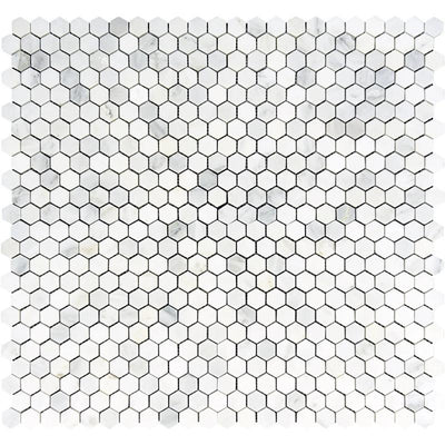 Oriental White Marble 1x1 Hexagon Polished Mosaic Tile