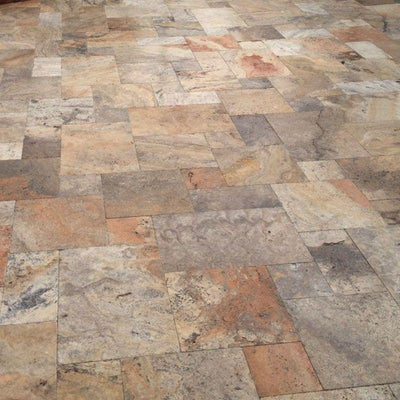 Scabos Travertine Unfilled Tumbled Versailles Pattern