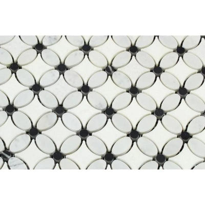 Thassos White Marble Florida Flower Polished Mosaic Tile w/Black Dots