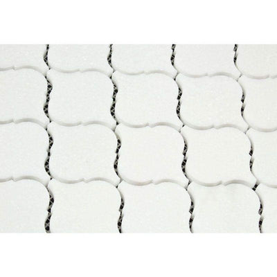 Thassos White Marble Lantern (Arabesque) Honed Mosaic Tile