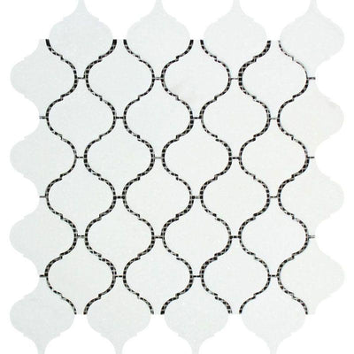 Thassos White Marble Lantern (Arabesque) Polished Mosaic Tile