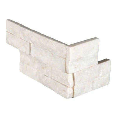 Arctic White 6x18 Stacked Stone Ledger Corner