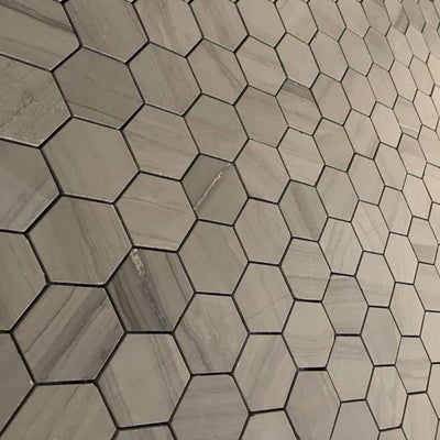 Haisa Dark (Athens Grey) Marble 2x2 Hexagon Honed Mosaic Tile