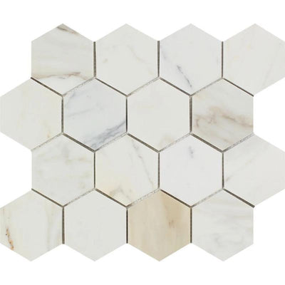 Calacatta Gold Marble 3x3 Hexagon Polished Mosaic Tile