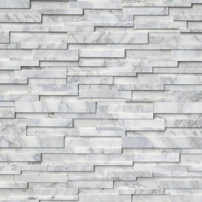 Calacatta Gold Marble 3D 6x24 Stacked Stone Ledger Panel