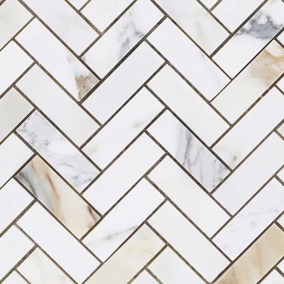 Calacatta Gold Marble 1x3 Herringbone Honed Mosaic Tile