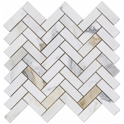 Calacatta Gold Marble 1x4 Herringbone Polished Mosaic Tile