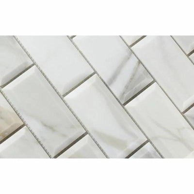 Calacatta Gold Marble 2x4 Deep Beveled Honed Mosaic Tile
