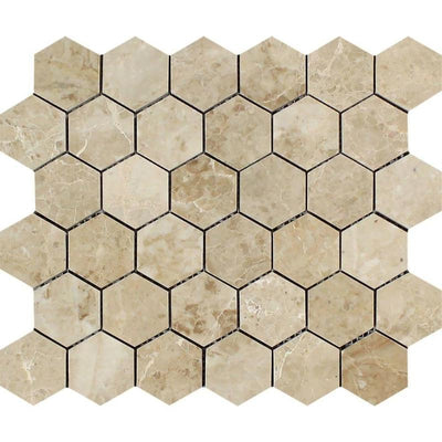 Cappuccino Marble 2x2 Hexagon Polished Mosaic Tile