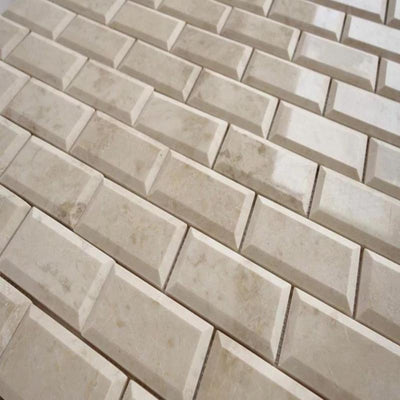 Cappuccino Marble 2x4 Polished Deep-Beveled Mosaic Tile