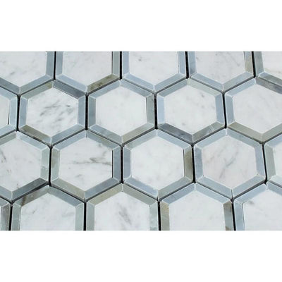 White Carrara Marble 2x2 Hexagon with Blue Polished Mosaic Tile