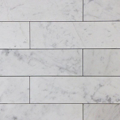 White Carrara Marble 3x12 Honed Tile