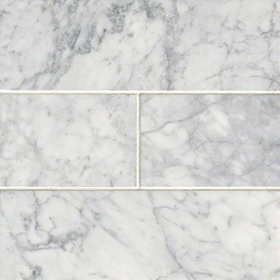 White Carrara Marble 4x12 Honed Tile