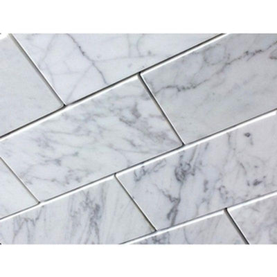 White Carrara Marble 6x12 Honed Tile