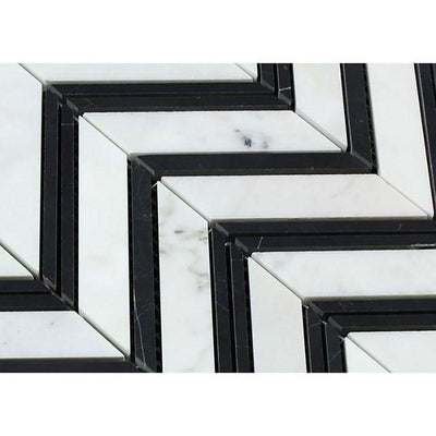White Carrara Marble Chevron with Black Strips Honed Mosaic Tile