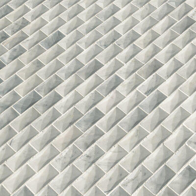 White Carrara Jewel Cut Special Design Mosaic Tile