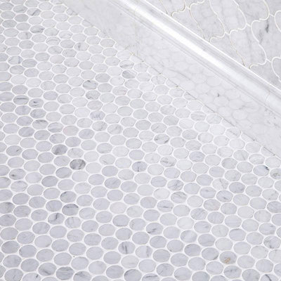 White Carrara Marble Penny Round Polished Mosaic Tile