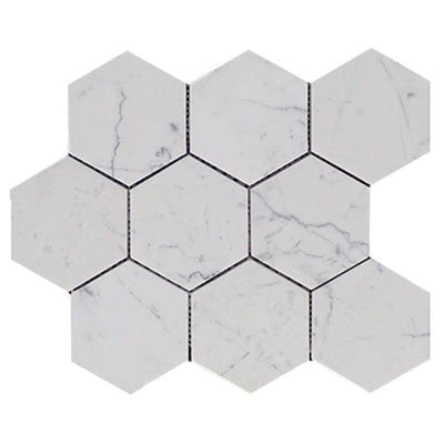 White Carrara Marble 4x4 Hexagon Polished Mosaic Tile
