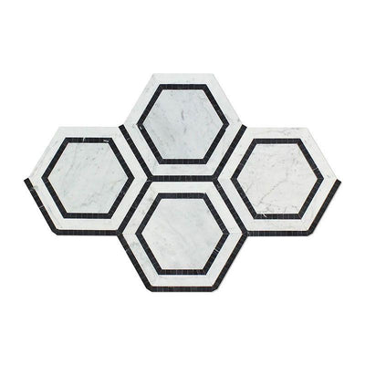 White Carrara Marble 5x5 Hexagon with Black Polished Mosaic Tile