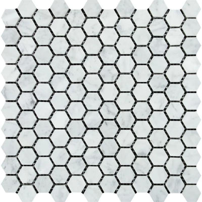 White Carrara Marble 1x1 Hexagon Polished Mosaic Tile