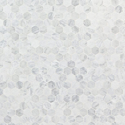 White Carrara Marble 1x1 Hexagon Honed Mosaic Tile