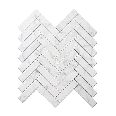 White Carrara Marble 1x4 Herringbone Honed Mosaic Tile