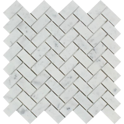 White Carrara Marble 1x2 Herringbone Polished Mosaic Tile