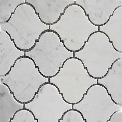 White Carrara Marble Lantern Honed Mosaic Tile
