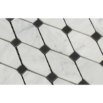 White Carrara Marble Octave with Black Dots Polished Mosaic Tile
