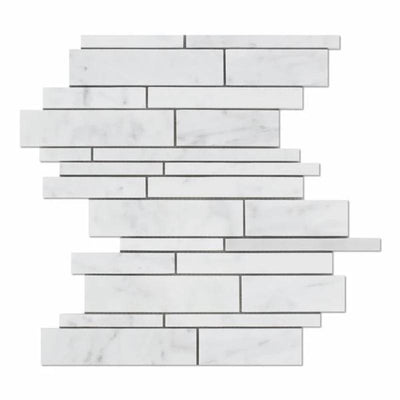White Carrara Marble Random Insert Honed Mosaic Tile