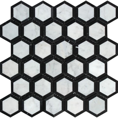 White Carrara Marble 2x2 Hexagon with Black Polished Mosaic Tile