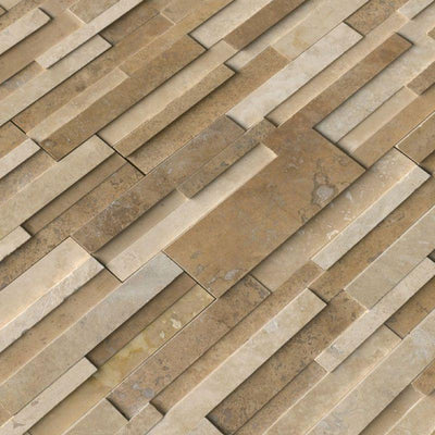 Ivory & Noce (Casa Blend) Travertine Multi Blend 6x24 Stacked Stone Ledger Panel
