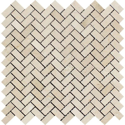 Crema Marfil Marble Mini Herringbone Polished Mosaic Tile