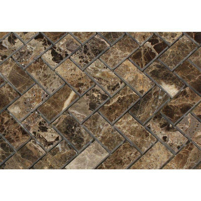 Emperador Dark Spanish Marble 1x2 Herringbone Polished Mosaic Tile