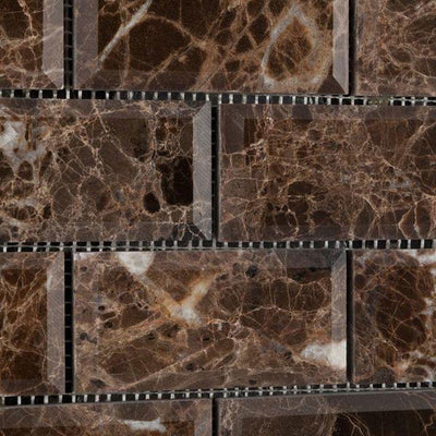 Emperador Dark Spanish Marble 2x4 Deep Beveled Polished Mosaic Tile