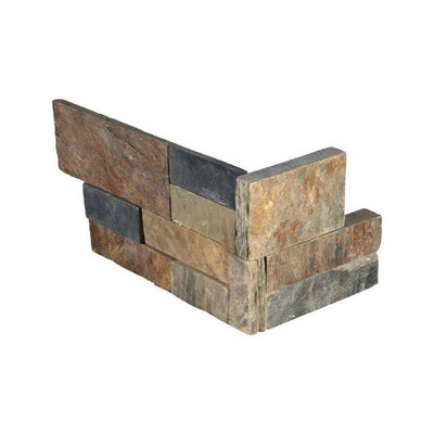 Gold Rush Slate 6x18 Stacked Stone Ledger Corner