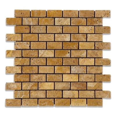 Gold Travertine 1x2 Tumbled Mosaic Tile