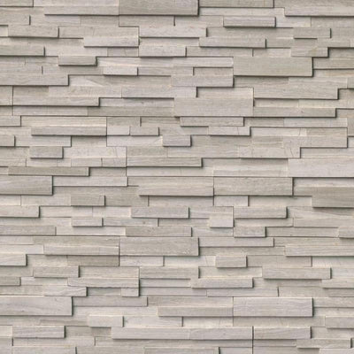 Haisa Dark (Gray Oak) Marble 3D 6x24 Stacked Stone Ledger Panel