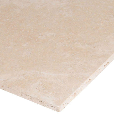 Ivory Travertine 12x12 Filled and Honed Tile