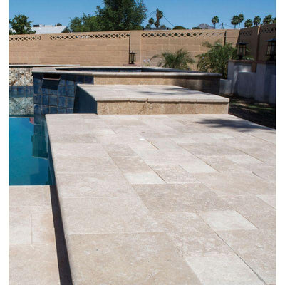 Ivory Travertine 12x24 3cm Tumbled Pool Coping