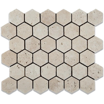 Ivory Travertine 2x2 Hexagon Tumbled Mosaic Tile