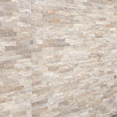 Ivory Travertine 6x24 Stacked Stone Ledger Panel
