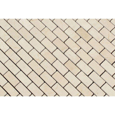 Crema Marfil Marble Polished Mini Brick Mosaic Tile