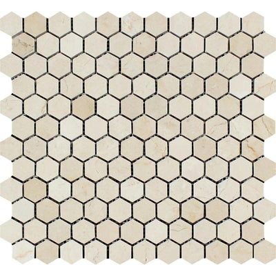 Crema Marfil Marble 1x1 Hexagon Polished Mosaic Tile