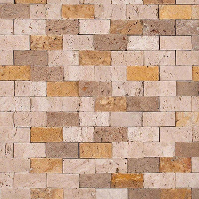 Mixed Travertine 1x2 Split Face Mosaic Tile