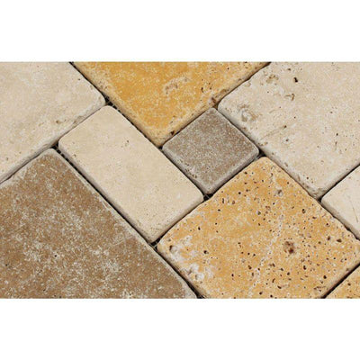 Mixed Travertine Opus Mini Pattern Tumbled Mosaic Tile