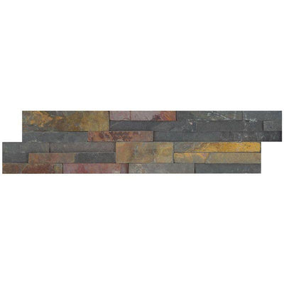 Multicolor Slate 6x24 Stacked Stone Ledger Panel